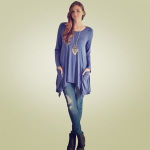 ⚡️Sale⚡️Blue Long Sleeve Tunic With Pockets